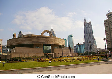 Shanghai downtown at day time, with Shanghai Museum...
