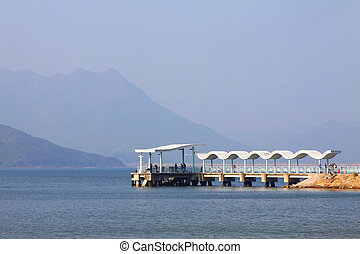 Pier in Hong Kong at day