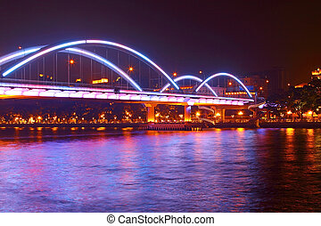 Guangzhou bridge at night in China