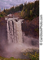 Snoqualmie Falls Washington in Spring - This vertical image...