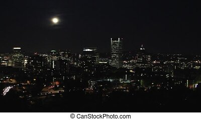 Portland Oregon City at Night - Moonrise Over Portland...