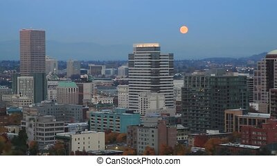 Moon Rise Portland Oregon City - Moonrise Over Portland...