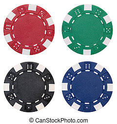 set of poker chips - four poker chips isolated on white...