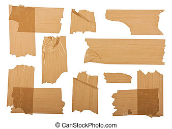 Different fragments of the brown scotch isolated on white
