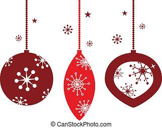 Elegant christmas balls decoration in retro style. Vector...
