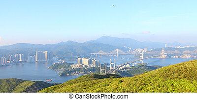 Three famous bridges in Hong Kong at day