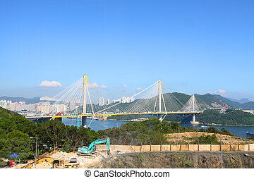 Ting Kau Bridge in Hong Kong at day