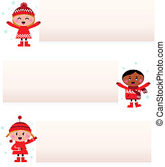 Cute multicultural children with blank banners isolated on white