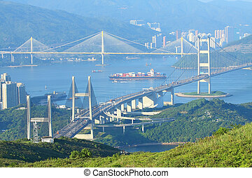 Three famous bridges in Hong Kong at day