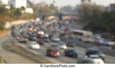 Traffic Jam - Out of focus Time Lapse Traffic Jam on...