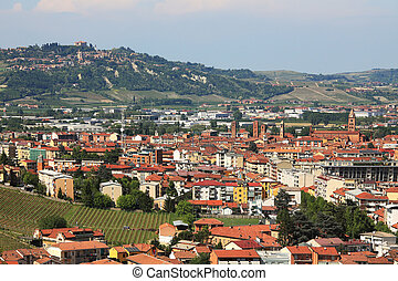Aerial view on Alba. Piedmont, Italy. - Aerial view on town...