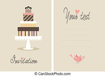 Vector cake - A cute vector invitation card for a wedding or...