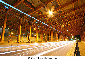 Tunnel at night in Hong Kong