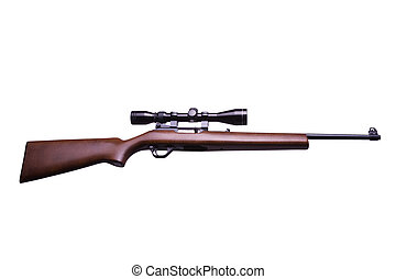 Rifle with scope on white
