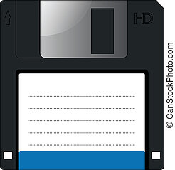 Floppy disc vector on isolated white background.