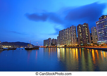Hong Kong night view in downtown area