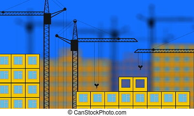 building houses - 2D animation of building a simple panel...