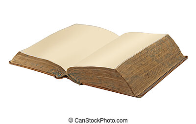 Old open book, isolated