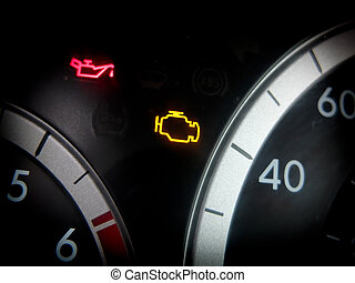 Engine trouble light on dashboard of vehicle