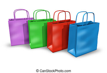 Shopping bags in a group with multi colors representing...