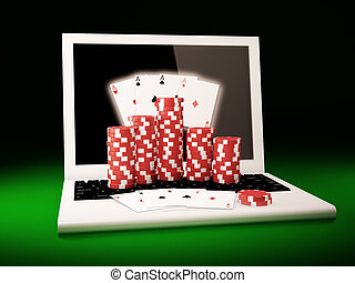 On line poker - Gambling chips and poker cards on a laptop
