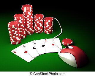 On line poker - Gambling chips and poker cards on green...