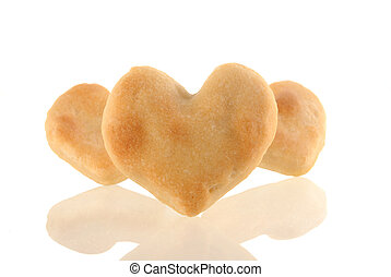 Cookies heart with reflection.