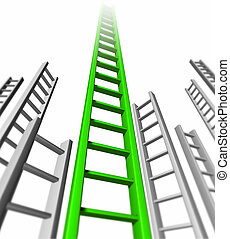 Ladder of success isolated representing green success and...