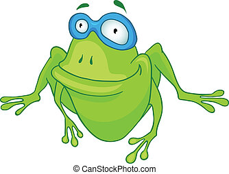 Cartoon Character Frog Isolated on White Background. Vector.