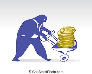Broker - man pushing a cart full of golden coins