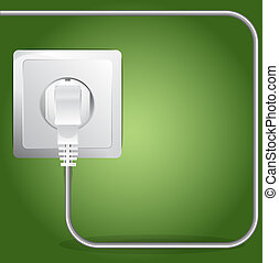 Vector Plugged Electric Cable Background