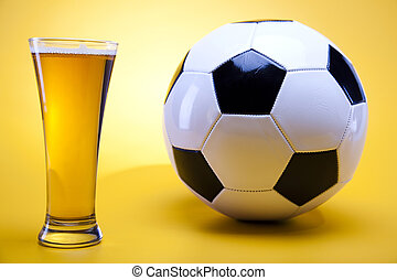 Beer collection, football - Beer collection, glass in...