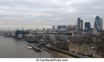 River Thames - Time Lapse River Thames London on a Cloudy...