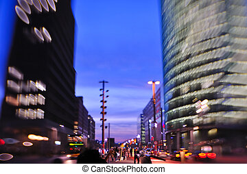 City night with cars motion blurred
