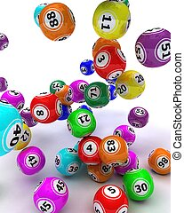 a set of colouored bingo balls - 3d render of a set of...