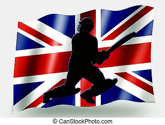 Country Flag Sport Icon Silhouette UK Cricket Batsman -...