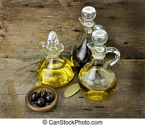 Cooking Oil And Vinegar - Vegetable And Olive Oil With...