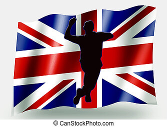 Country Flag Sport Icon Silhouette UK Cricket Bowling -...