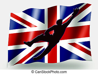 Country Flag Sport Icon Silhouette UK Cricket Catch -...