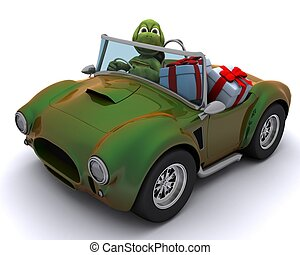 tortoise driving a car with gifts