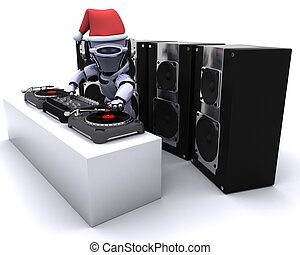 Robot DJ mixing records on turntables - 3D render of a Robot...