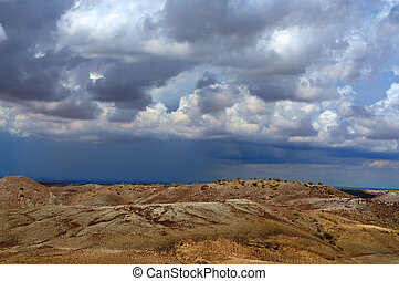 Badland Storm - Storm forming over the Arizona Badland