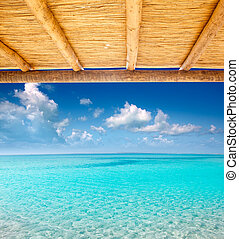 Cane sunroof with tropical perfect beach of truquoise water...