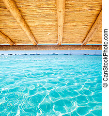 Cane sunroof with tropical perfect beach of Illetes...