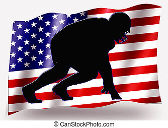 Country Flag Sport Icon Silhouette USA American Football...