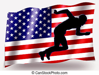 Country Flag Sport Icon Silhouette USA Athletics Sprint -...