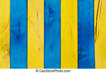 Blue and yellow wood background VI - Vertical arrangement of...