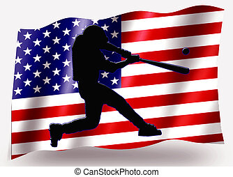 Country Flag Sport Icon Silhouette USA Baseball Batter Large...