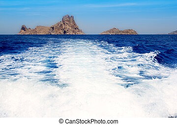 Ibiza Es Vedra from boat prop wash wake