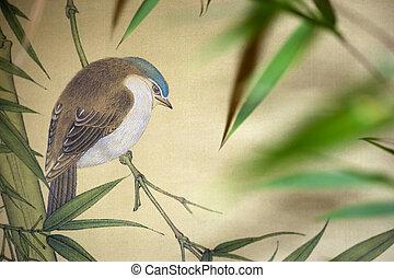 Bird on Chinese scroll